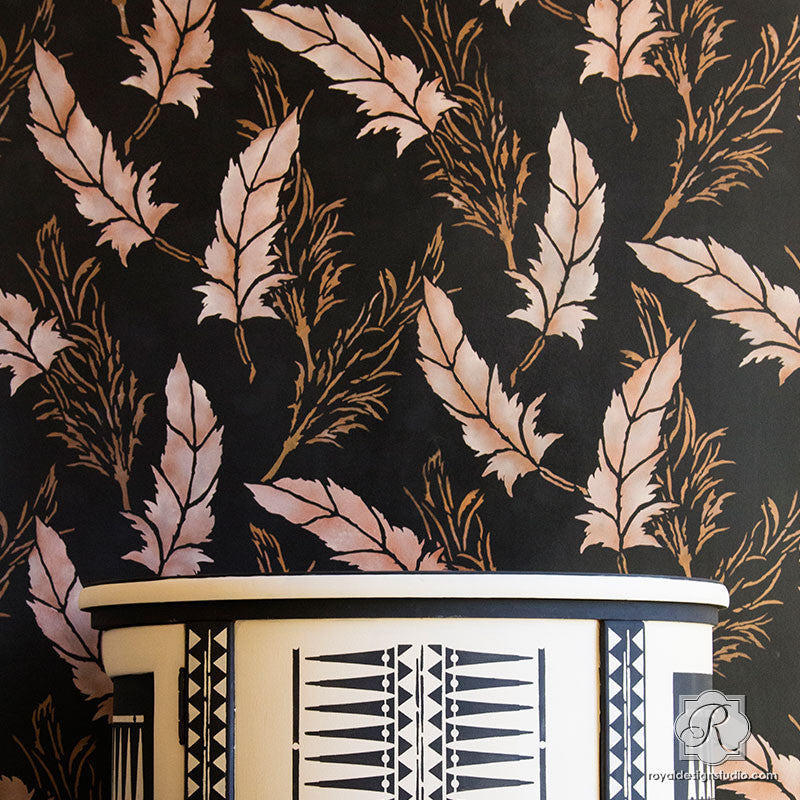 Pretty Allover Feather Damask Pattern Wall Stencil Raven