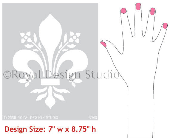 Classic Fleur de Lis French Design Wall Stencils - Royal Design Studio