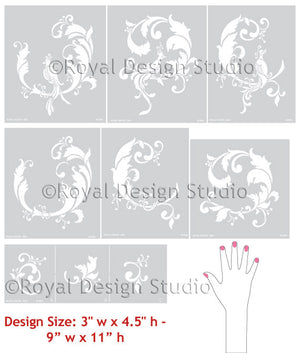 Oriental Designs on Painted Walls - Chinois Wall Stencil designs