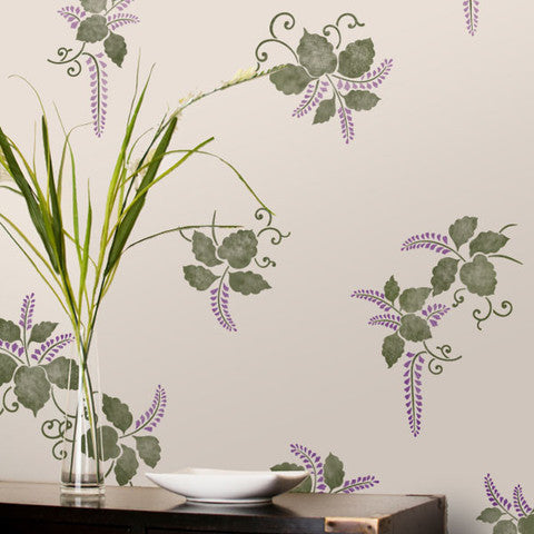 Wall Stencil Kimono Ferns Royal Design Studio
