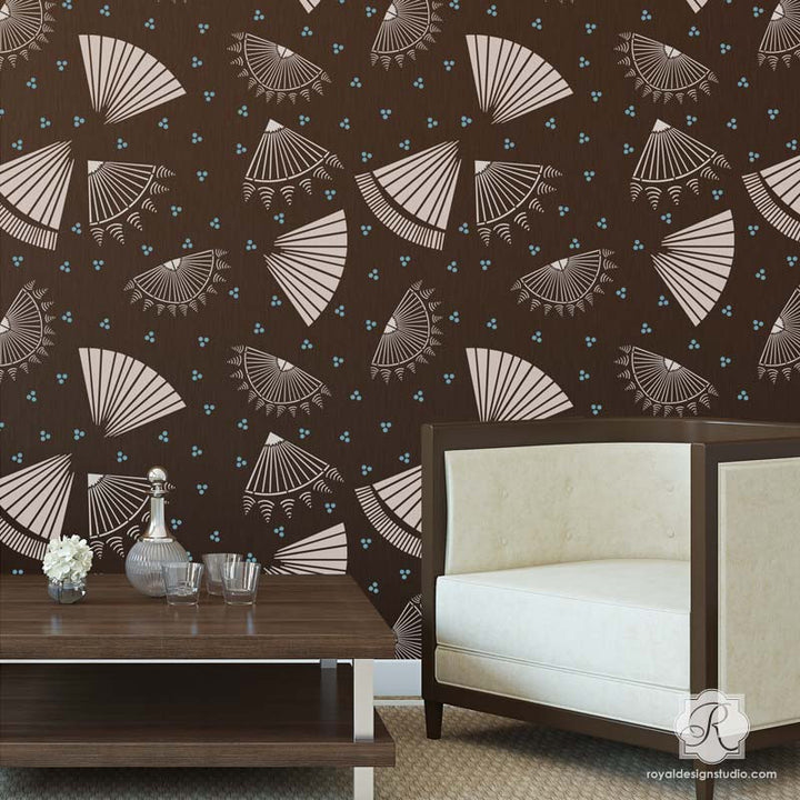 Asian Decor - Oriental Fan Stencils - Modern and Geometric Wall Stencils - Royal Design Studio