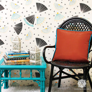 Designer Wallpaper Look with Asian Stencils - Wall Stencils for Painting - Royal Design Studio