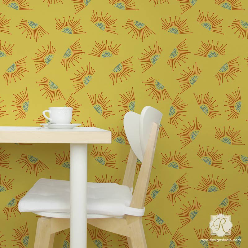 Get a designer wallpaper look with large wall stencils - Modern sun shapes & designs - Royal Design Studio