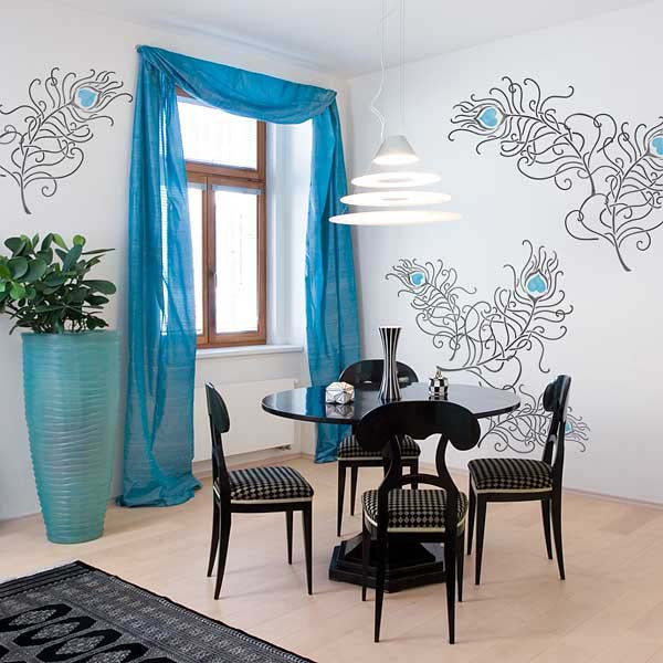 Wall Stencils Set Peacock Feathers Stencils Royal