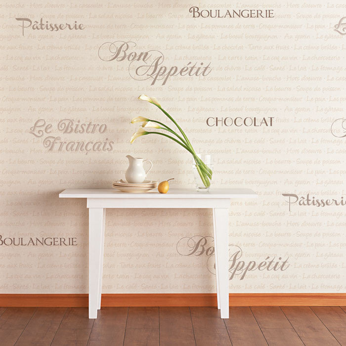 French Lettering Stencils for Walls - DIY Cute Kitchen Wall Decor - Royal Design Studio Wall Art Stencils