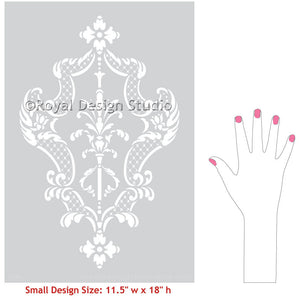 Traditional Florence, Italy style for DIY decorating - Villa Damask Furniture Stencils - Royal Design Studio