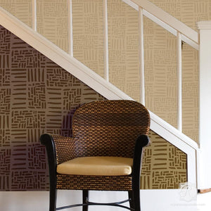 Weave Pattern Wall Stencils for DIY Home Decor Projects - Royal Design Studio