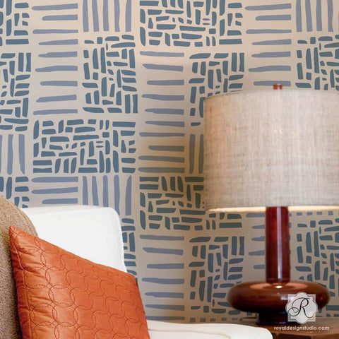 Weave Allover Wall Stencil Royal Design Studio
