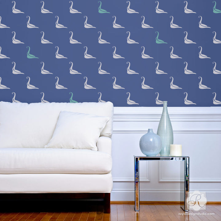 Blue Wallpaper Look - Cute Bird Wall Stencils for Decorating Home Decor with Swan Patterns - Royal Design Studio