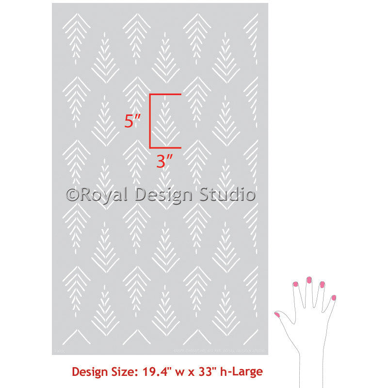 Tribal Arrow Designs Painted on Walls with Designer Wall Stencils - Royal Design Studio