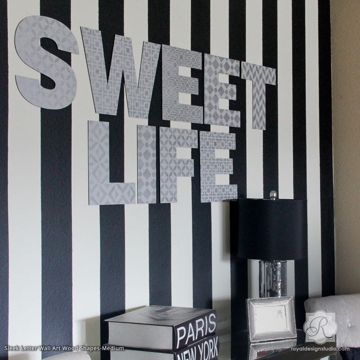 Chic Modern Girl's Room Decor with Painted Wall Art Letters and Wall Quotes and Craft Stencils - Royal Design Studio