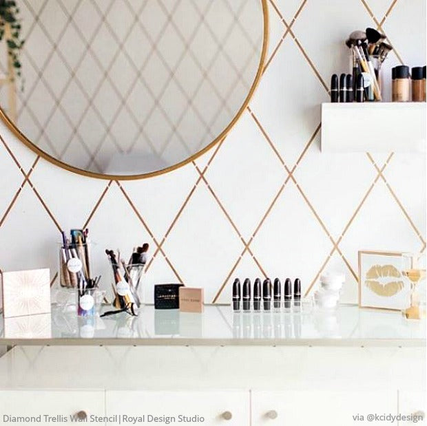 Diamond Trellis Wall Stencil