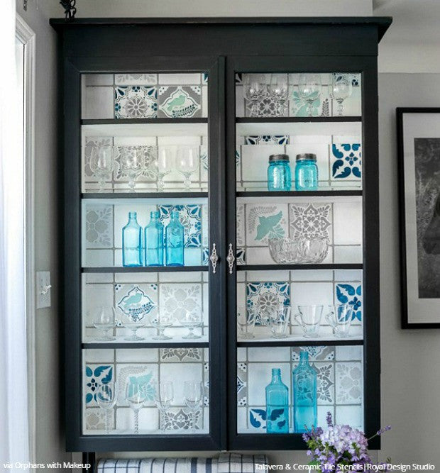 Blue Glass Cabinet Vintage Shabby Chic Tile Furniture Stencils - Royal Design Studio