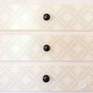 Crisscross Overlapping Wicker Weave Design - Furniture Stencils - Royal Design Studio