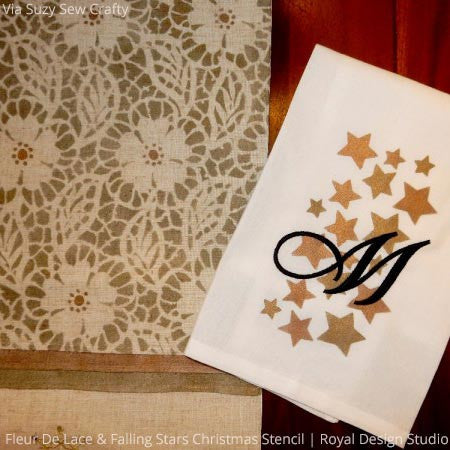 Flower lace stencils for winter snow or snowflakes and Christmas home decor