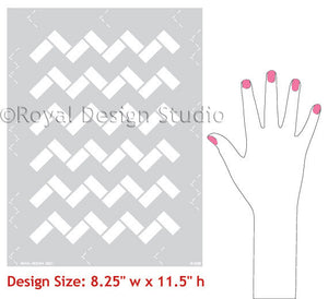 Moroccan Stencils Zig Zag Tiles - Geometric and Exotic Designs by Royal Design Studio