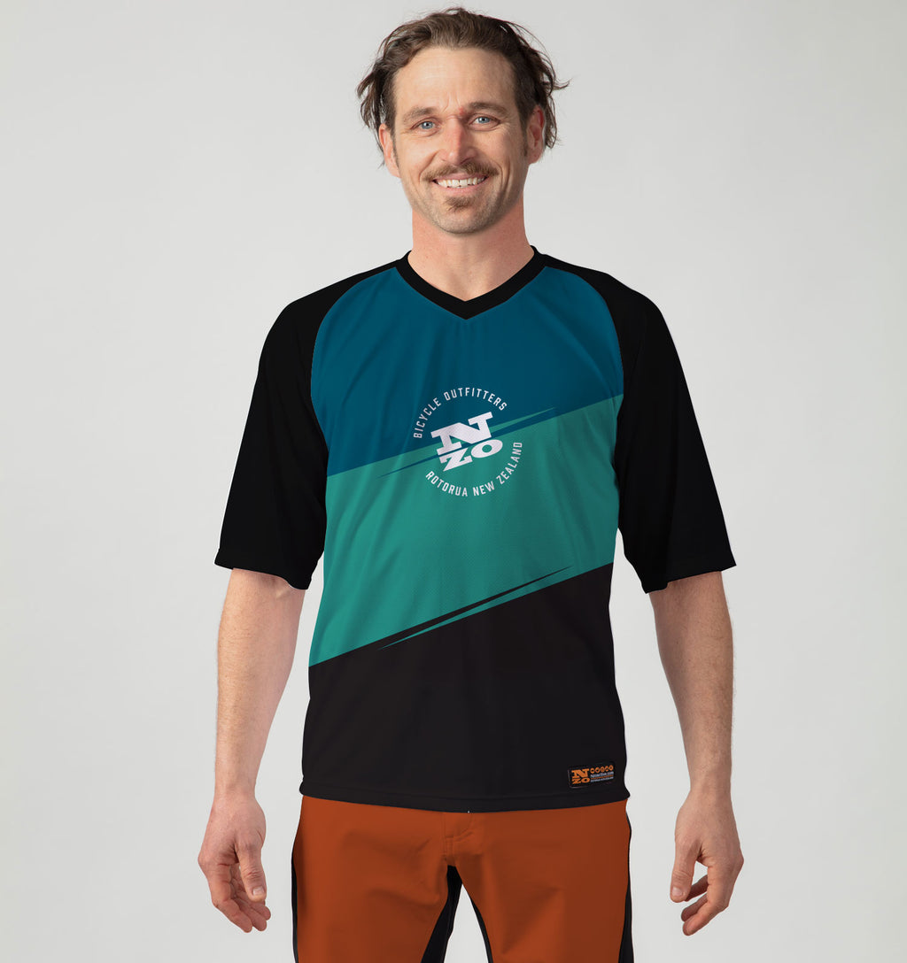 Mens Bike Trail T Jersey - Nzo DESIGN 036_2 Turquoise Grey