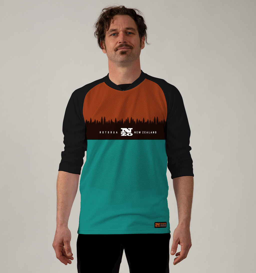 3/4 Sleeve MTB Top  - Nzo DESIGN 033_2 RUST TURQUOISE