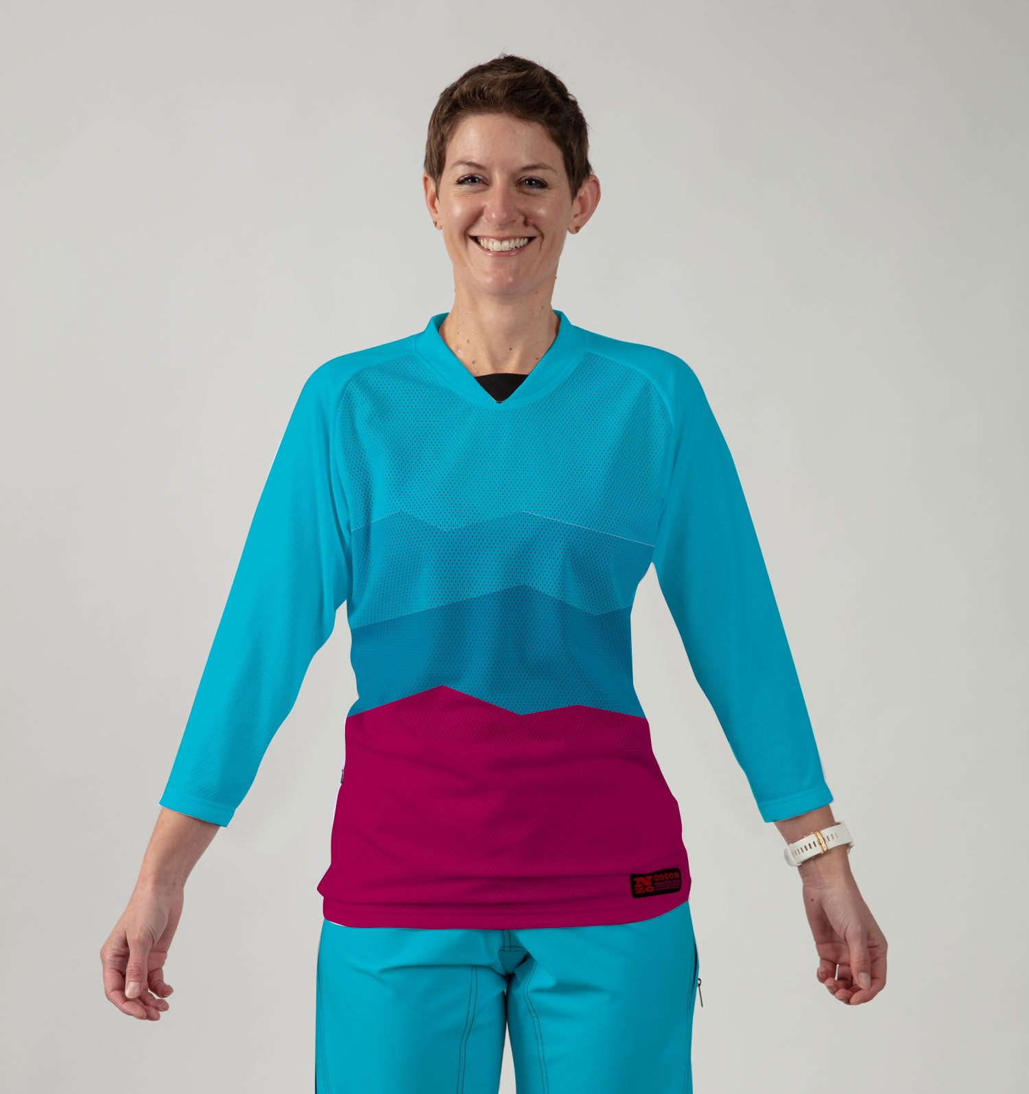 3/4 Women Sleeve MTB Top  - Nzo DESIGN 038_1 Aqua