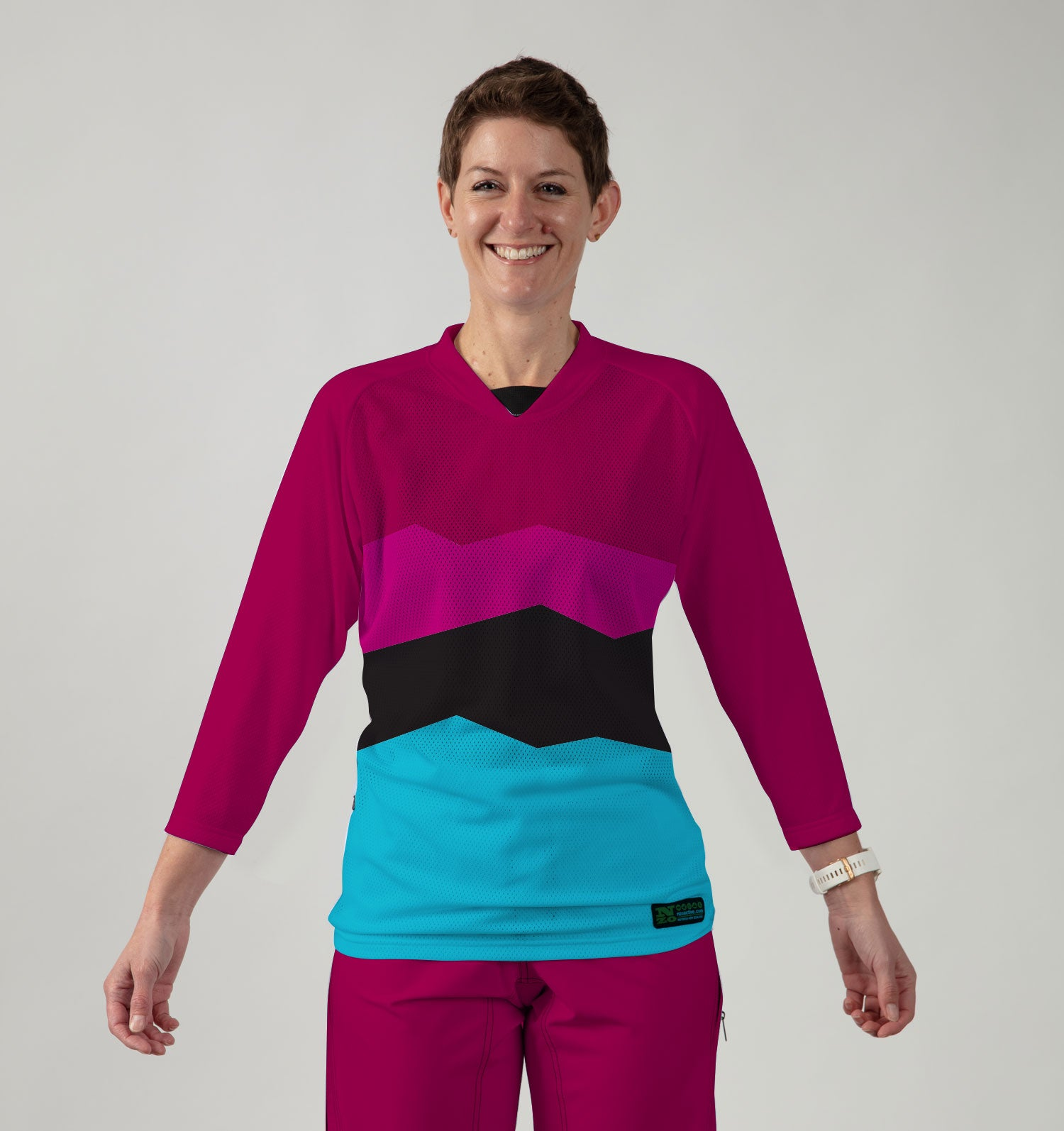 3/4 Women Sleeve MTB Top  - Nzo DESIGN 038_2 PLUM