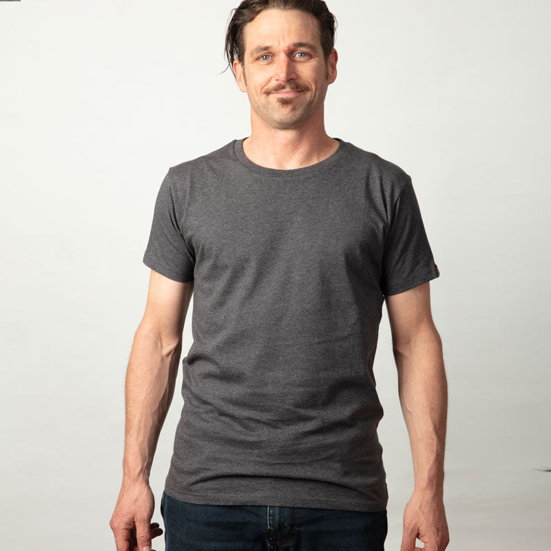 Mens Organic cotton T Shirt - Charcoal marle