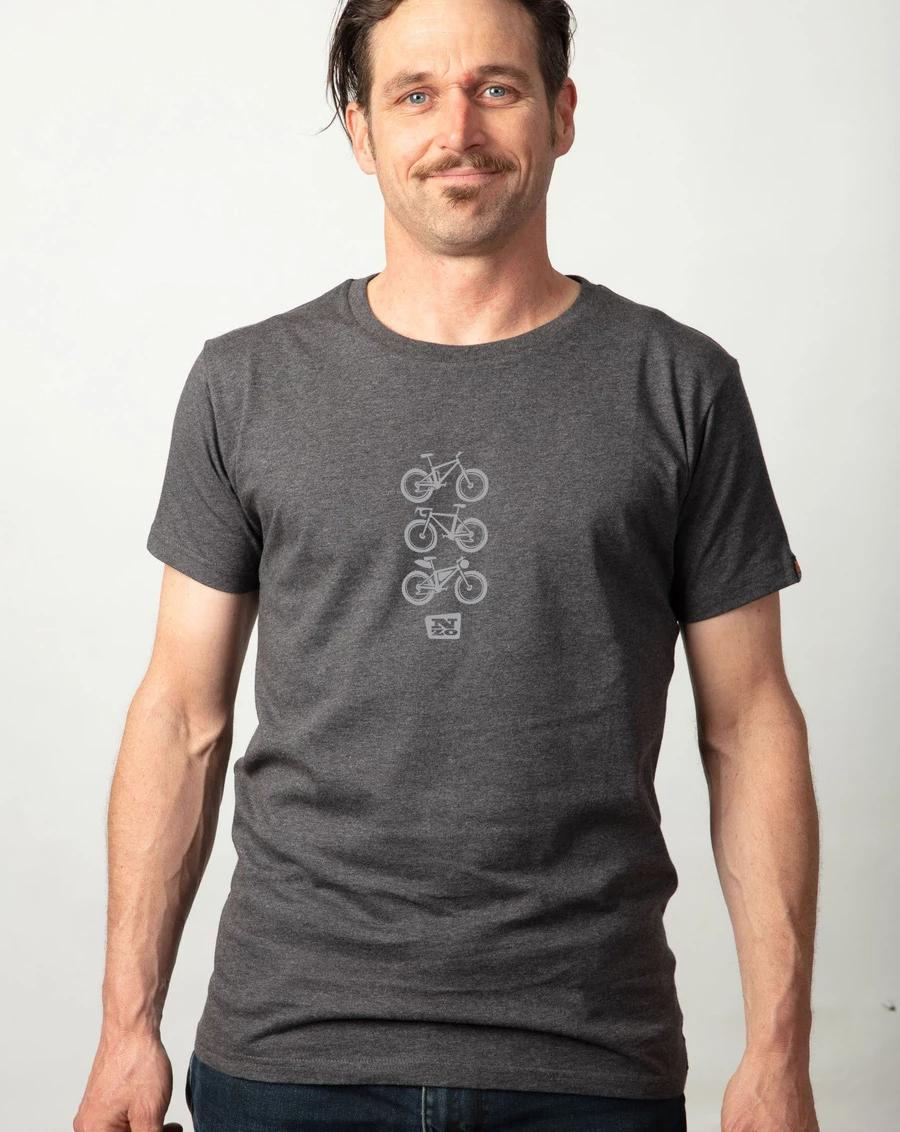 "Mens organic cotton T Shirt - Charcoal marle ""Ride"""