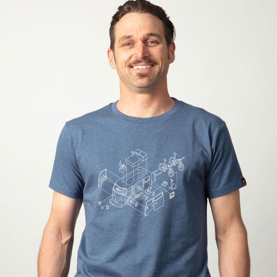 "Mens organic cotton Tshirt - Blue marle  ""Kombi"""