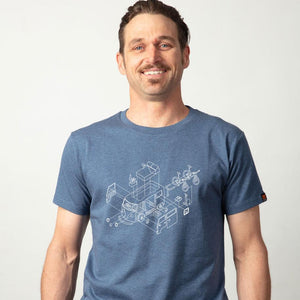 "Mens organic cotton Tshirt - Blue marle  ""Kombi"" - LIMITED EDITION"
