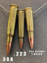 "Load image into Gallery viewer, ""The Infidel"" 7.32x39 (AK47 Round) Bullet Necklace"