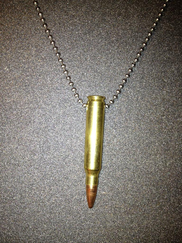 Bullet necklace bullet key chain bullet earrings bullet jewelry 223 bullet necklace in classic brass aloadofball Images