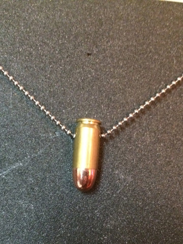 .45 Caliber Bullet Necklace with Brass Shell