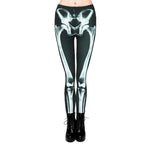 Halloween Skull Printed High Waist Skinny Pants | Casualivia
