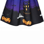 Halloween Pumpkin Print Evening Party Swing Dress | Casualivia