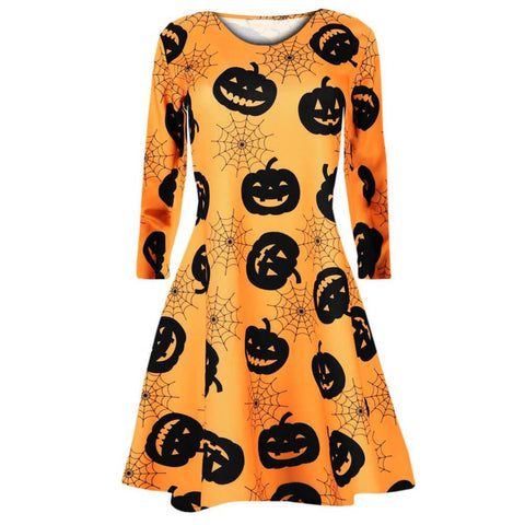 Halloween Pumpkins Skull Print Evening Swing Dress | Casualivia