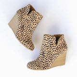 Ladies's Leopard Short Boots Wedges Ankle Fashion Shoes