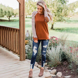 O-neck Hooded Long Sleeve Striped Tops