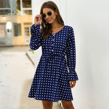 Print  Paneled Lantern Sleeve High Waist  Dress
