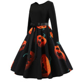 Halloween Pumpkin Printing Vintage Gown Party Dress | Casualivia
