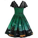 Halloween Print Lace Panel Vintage Swing Dress | Casualivia
