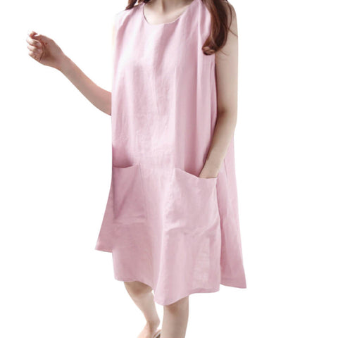 Fashion Loose Pockets Cotton Linen Casual Dress