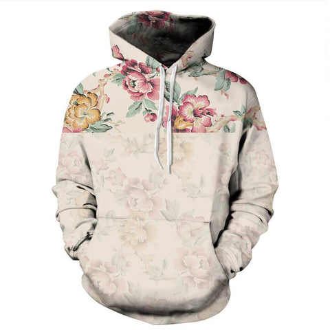 Autumn Floral Printing Couple Hoodie | Casualivia