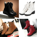 Anti-Skid Cross-Tied Square High Heel Boots