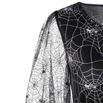Halloween Party Cobweb Print Yarn Mini Dress | Casualivia