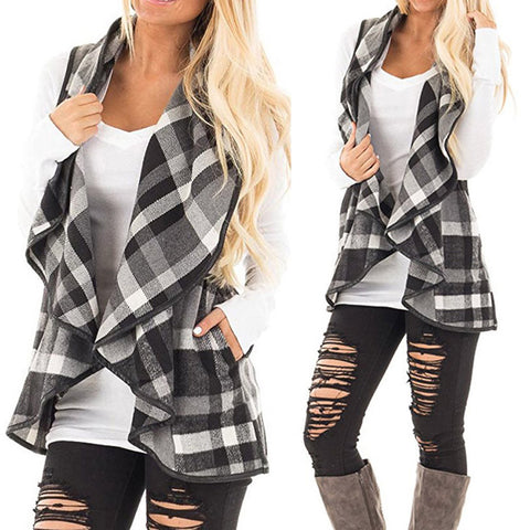 Vest Plaid Sleeveless Lapel Open Front Cardigan