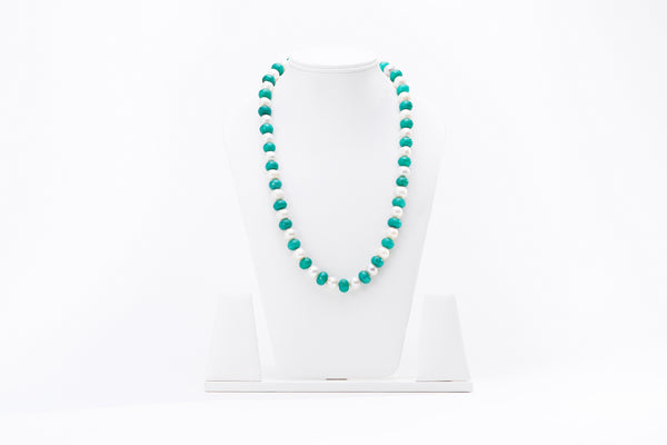 Pearl Necklace with Turquoise Onyx