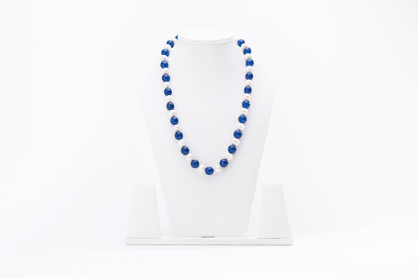 Pearl Necklace with Blue Onyx