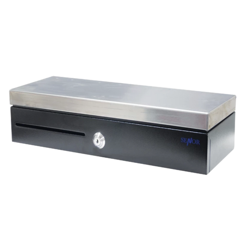 Senor KC4617 Flip-Top Cash Drawer - Black + Brushed Stainless Steel Top