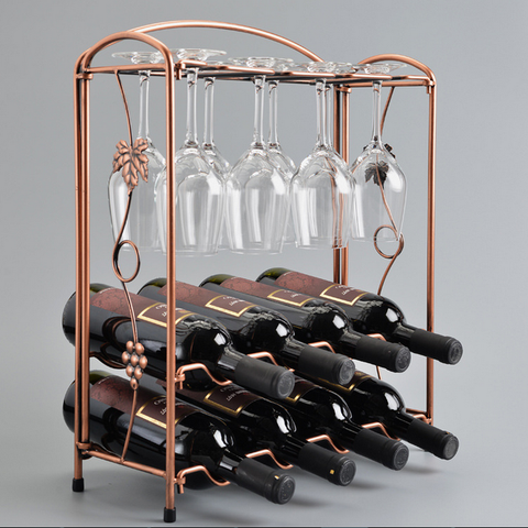 Copper Wine Rack & Glass Holder