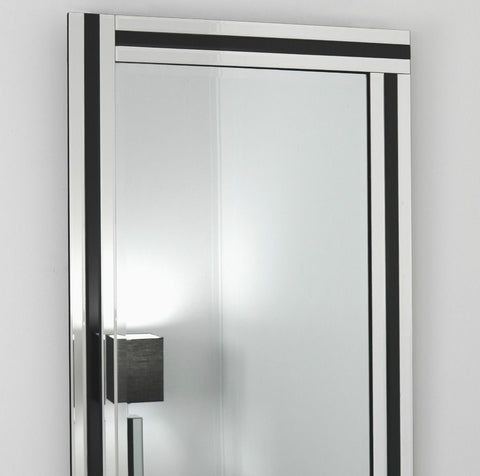 Black Glass Framed Rectangular Wall Mirror