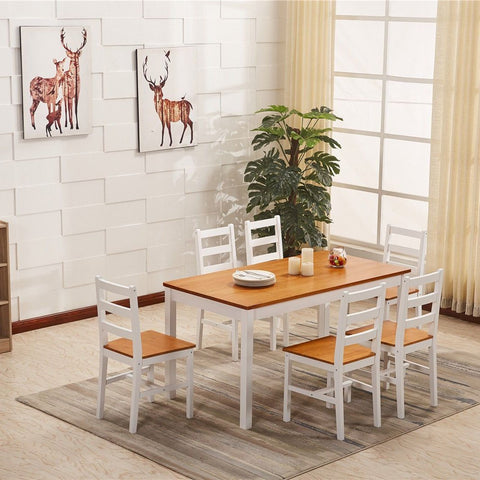 Solid Pine Wood Dining Table & 6 Chairs